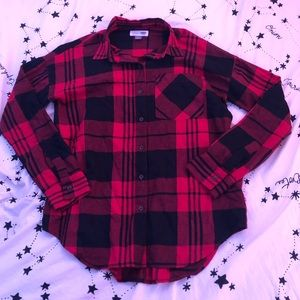 Old Navy Red and Black Boyfriend Flannel Top